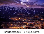 Breckenridge Winter Sunset. The Town of Breckenridge Was Formally Created in November 1859. Colorado Photo Collection. - stock photo