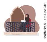 arabian woman sit on chair in... | Shutterstock .eps vector #1711651039
