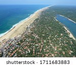 Aerial view of atlanctic coast in South West of France, Landes, Hossegor.
