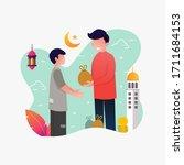 a man giving sadaqa to poor... | Shutterstock .eps vector #1711684153