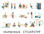 flat icons set with modern... | Shutterstock .eps vector #1711691749