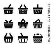 Set Of Shopping Basket Flat...