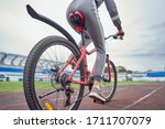 Cyclist Woman Training On The...