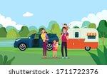 happy family having picnic in... | Shutterstock .eps vector #1711722376