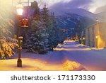 Lovely Breckenridge Road in Winter. Breckenridge, Colorado, United States. Night Winter Scenery - stock photo