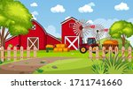 background scene with red barns ... | Shutterstock .eps vector #1711741660