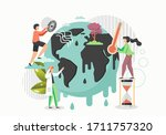 man and woman characters saving ... | Shutterstock .eps vector #1711757320