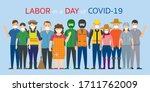 group of thai people labor ... | Shutterstock .eps vector #1711762009