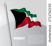 waving flag of kuwait on... | Shutterstock .eps vector #1711762153
