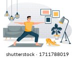 guy stands in a warrior pose... | Shutterstock .eps vector #1711788019