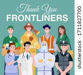 thank you frontliners concept.... | Shutterstock .eps vector #1711827700
