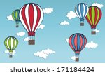 hot air balloons in the sky.... | Shutterstock .eps vector #171184424