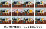 set of poses businesswoman with ... | Shutterstock .eps vector #1711867996