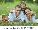 family of four is having picnic ... | Shutterstock . vector #171187400