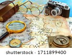 Old Pirate And Modern Maps With ...