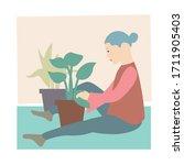 indoor gardening woman. woman...   Shutterstock .eps vector #1711905403
