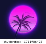 retrowave sunset with palm... | Shutterstock .eps vector #1711906423