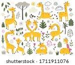 big set of cute cartoon little... | Shutterstock .eps vector #1711911076