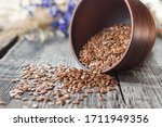 Flax Seeds Are On Old Boards ...