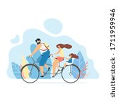 family rides a bike on a white... | Shutterstock .eps vector #1711959946