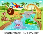 african animals in the jungle.... | Shutterstock .eps vector #171197609