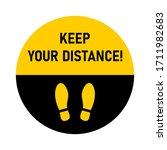 keep your distance round floor... | Shutterstock .eps vector #1711982683