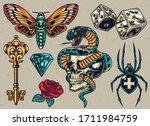 colorful tattoos composition... | Shutterstock . vector #1711984759