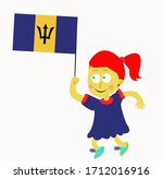 little girl is holding barbados ...   Shutterstock .eps vector #1712016916