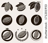 cacao beans label and icons set.... | Shutterstock .eps vector #171201953