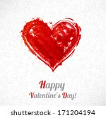 valentine's day card with hand... | Shutterstock .eps vector #171204194