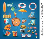 set icon for summer beach | Shutterstock .eps vector #1712067079