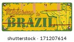 welcome to brazil sign  vector | Shutterstock .eps vector #171207614