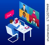 isometric video conference.... | Shutterstock .eps vector #1712079949