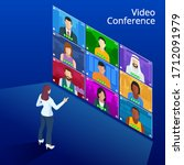 isometric video conference.... | Shutterstock .eps vector #1712091979