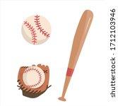 vector baseball set with glove  ... | Shutterstock .eps vector #1712103946
