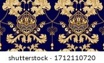 Golden Damask Seamless Pattern. ...