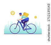bicycle delivery man with... | Shutterstock .eps vector #1712135143