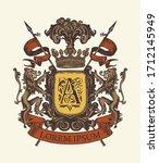 vector heraldic coat of arms in ... | Shutterstock .eps vector #1712145949