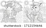two coloring pages with animals ... | Shutterstock .eps vector #1712154646