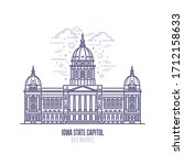 Iowa State Capitol located in the city of Des Moines. The state capitol building and government of U.S. state Iowa . The great example of Renaissance architecture style. City sight linear vector icon
