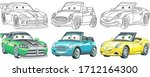 cute cartoon cars. coloring and ... | Shutterstock .eps vector #1712164300