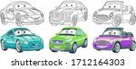 cute cartoon cars. coloring and ... | Shutterstock .eps vector #1712164303