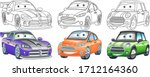 cute cartoon cars. coloring and ... | Shutterstock .eps vector #1712164360