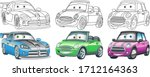cute cartoon cars. coloring and ... | Shutterstock .eps vector #1712164363