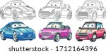 cute cartoon cars. coloring and ... | Shutterstock .eps vector #1712164396