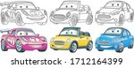 cute cartoon cars. coloring and ... | Shutterstock .eps vector #1712164399