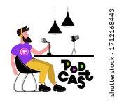 man recording podcast. hand... | Shutterstock .eps vector #1712168443