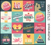 Valentine`s day set - labels, emblems and other decorative elements. | Shutterstock vector #171219230