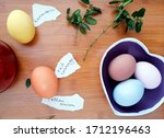 colored eggs for easter with...