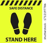 safe social distance mark. foot ... | Shutterstock .eps vector #1712197786